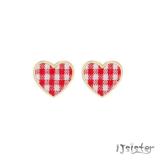 愛心格子韓國甜美可愛少女復古別緻個性編制布藝金屬耳針耳夾耳環