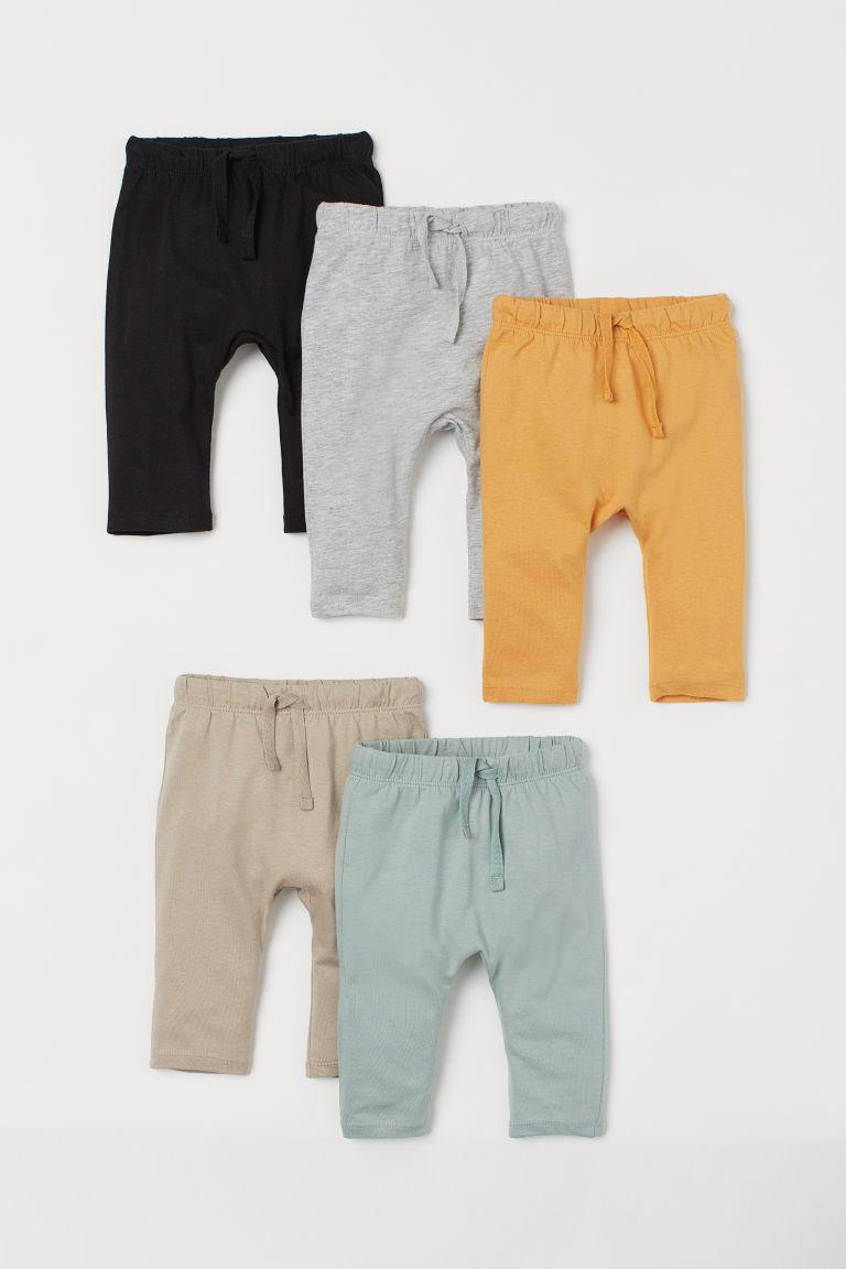 H & M - 5件入棉質長褲 - 黃色