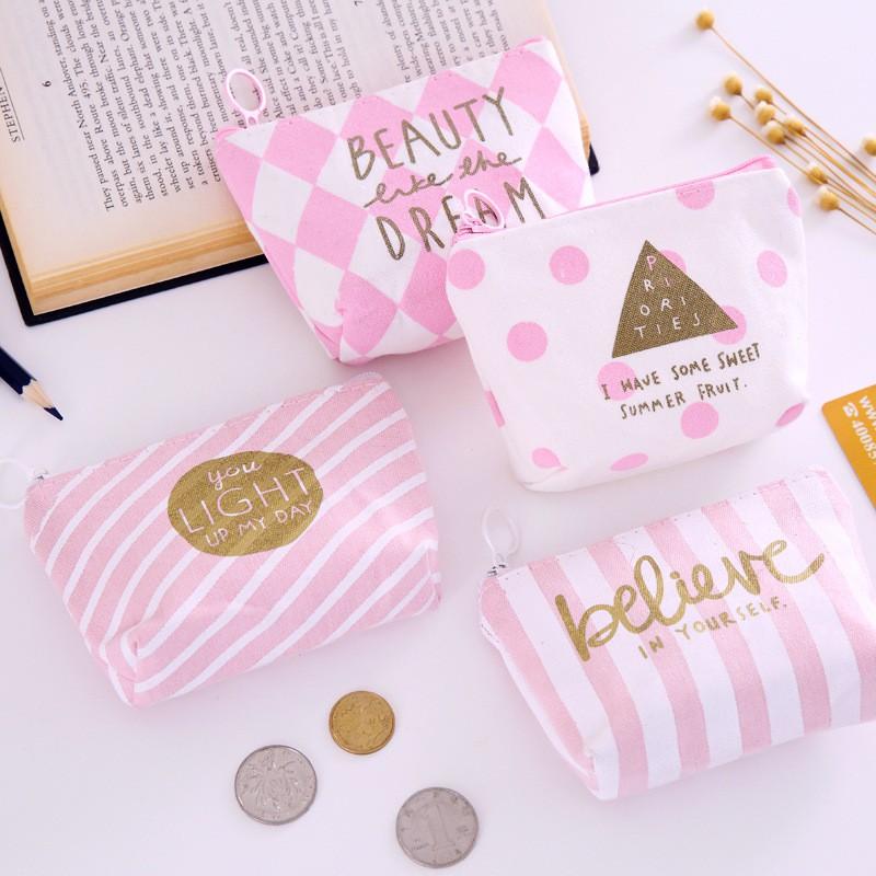 零錢包 創意 可愛 粉色 迷你收納包 晶粉 帆布零錢包 拉鏈 硬幣包 學生 手拿 鑰匙收納包