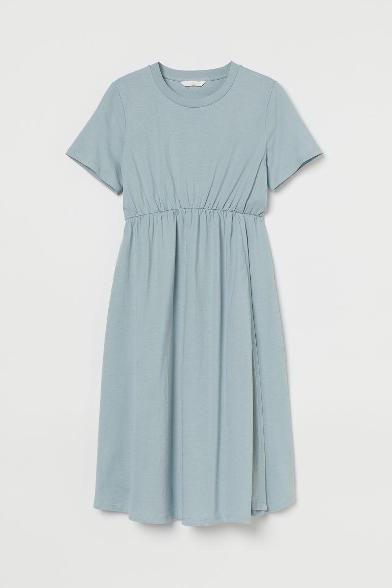 H & M - MAMA 棉質洋裝 - 藍綠色