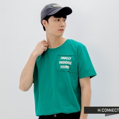 H:CONNECT 韓國品牌 男裝-圓領英文字樣口袋不收邊T恤-綠
