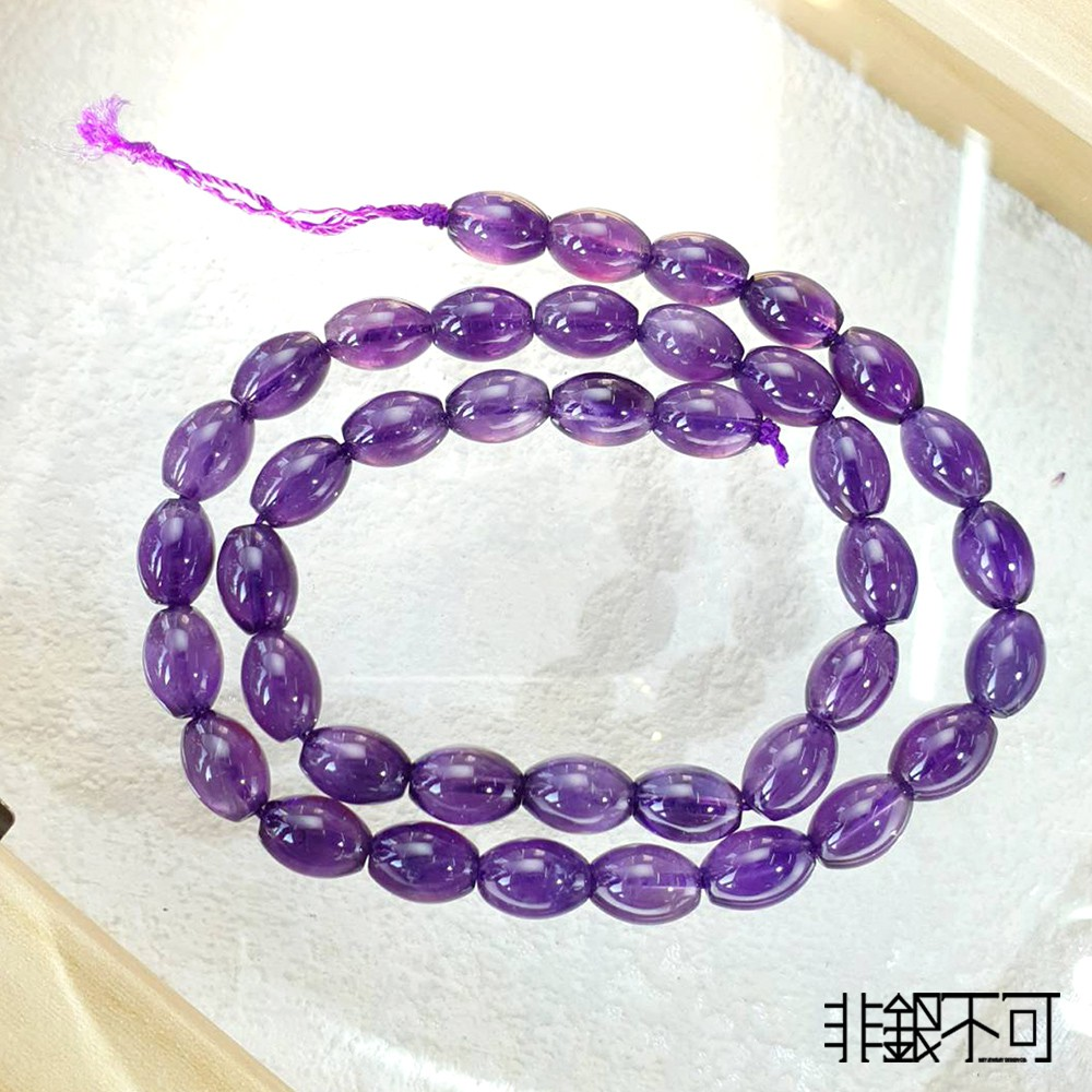 「非銀不可」天然 紫水晶  大米珠  珠串(7號)