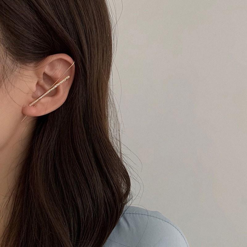 韓版鍍真金穿刺耳環 優雅設計感鋯石耳飾 閃鑽長款耳掛 F304