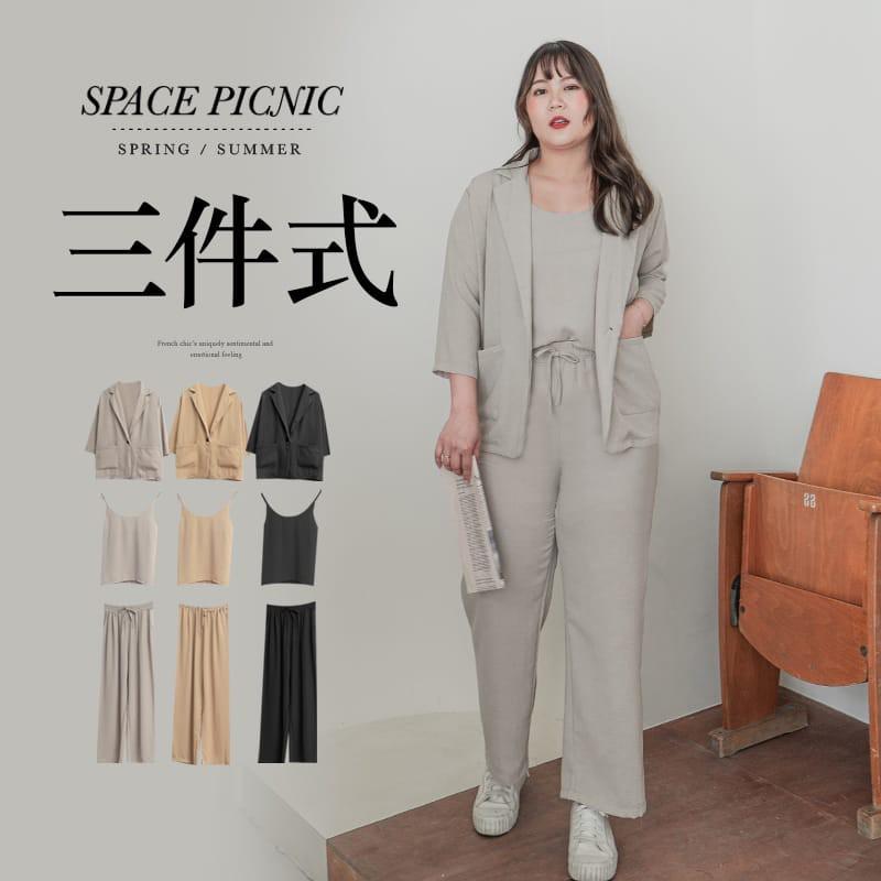 Space Picnic|棉花糖企劃-三件式-細肩棉麻背心+西裝外套+鬆緊長褲(現+預)【C21042037】