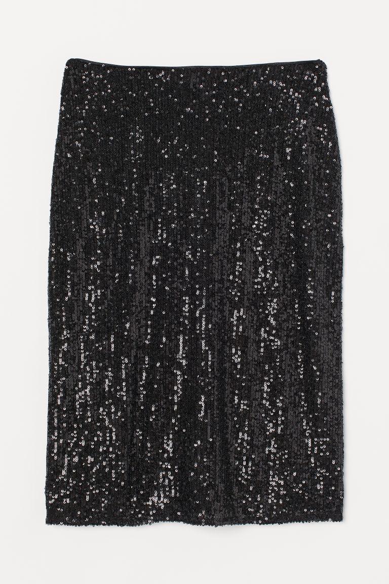 H & M - 合身亮片裙 - 黑色