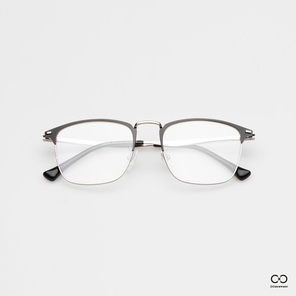 圈圈眼鏡 合金半框方框光學眼鏡 / 現貨 方型眉框設計 金屬質感 黑銀 全黑 配色 OOEYEWEAR OF0005