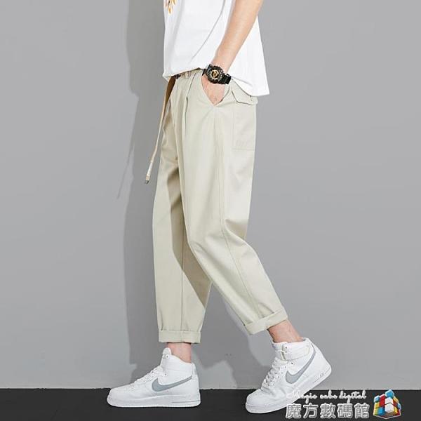 褲子男夏季薄款休閒長褲寬鬆直筒闊腿西裝褲韓版潮流純色九分男褲 魔方數碼