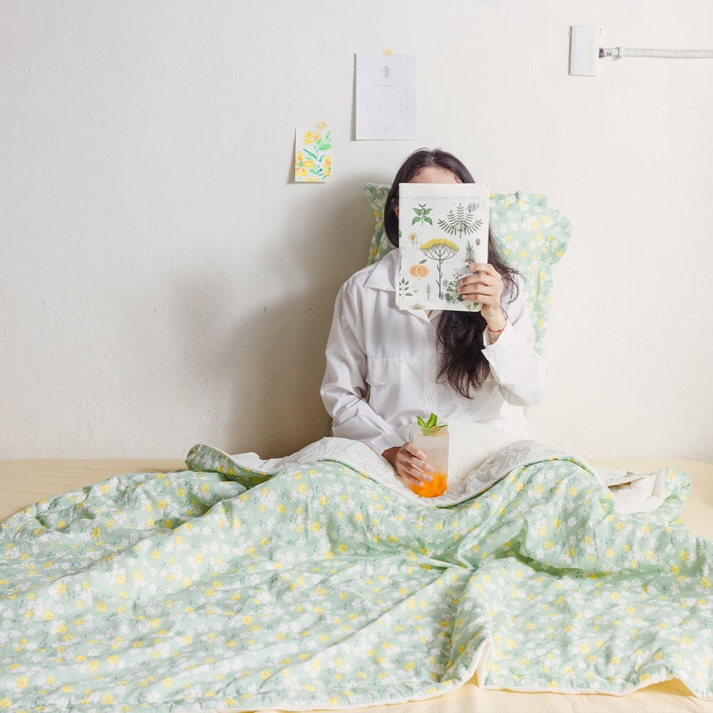 【Bluebirdbedding 青鳥家居】雙層紗涼感紗涼被_單人5X6呎+雙層紗枕套組 - 蘇珊