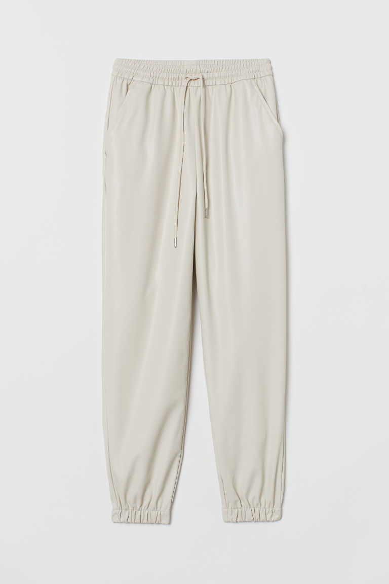H & M - 仿皮慢跑褲 - 米黃色