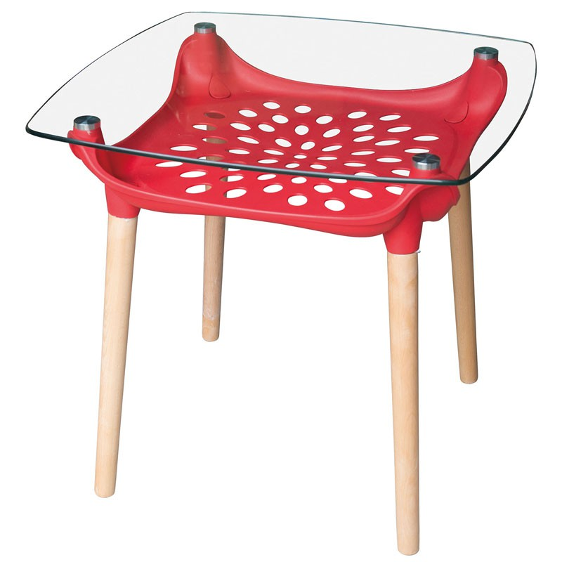 【C1961-01】塑鋼造型雷射玻璃實木方桌(132-1)(紅)(12m/m強化玻璃)