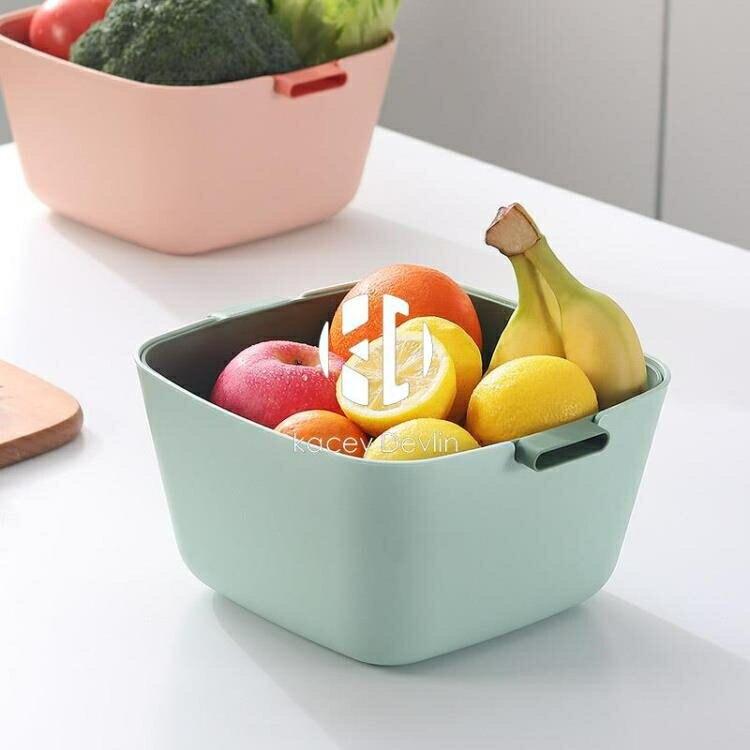 家用雙層大號洗菜盆瀝水籃多功能廚房洗菜籃客廳收納水果盆【聚物優品】
