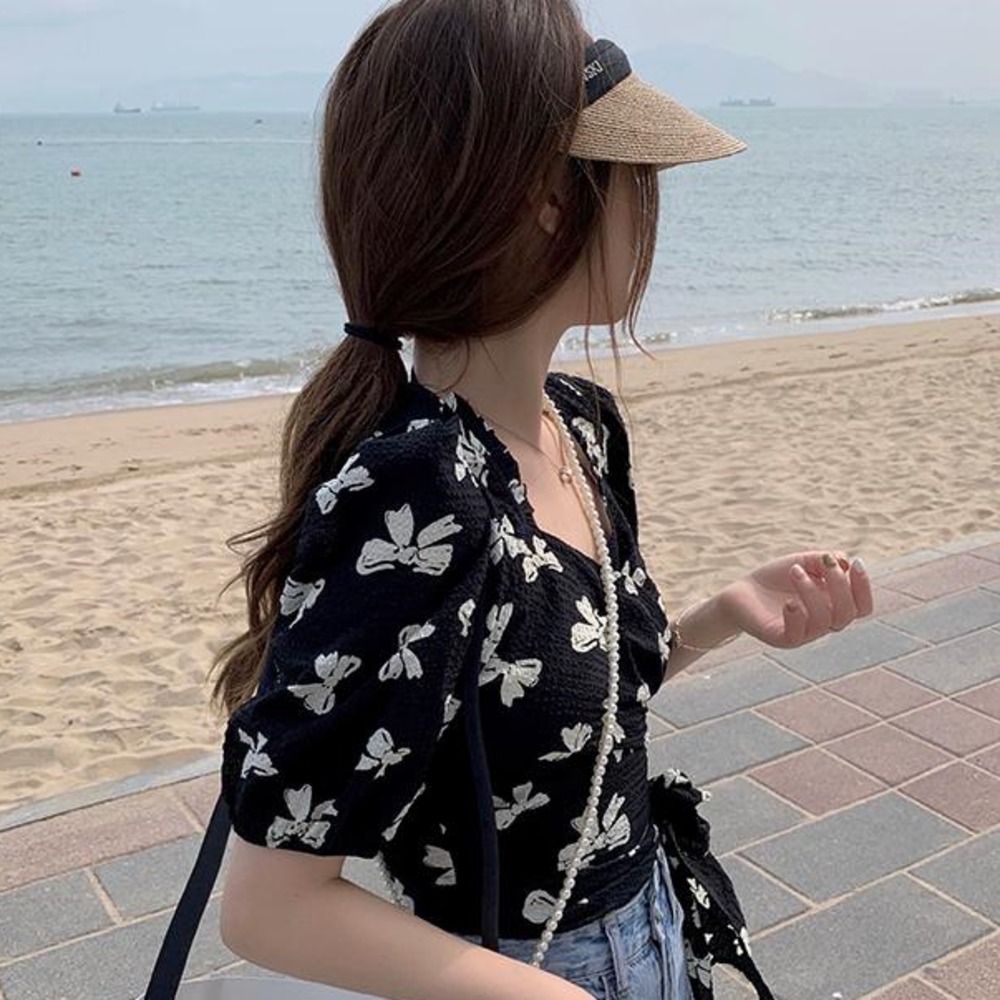 時尚ins新款蝴蝶結印花雪紡衫女生衣著夏季收腰顯瘦短版上衣洋氣顯瘦百搭短袖襯衫