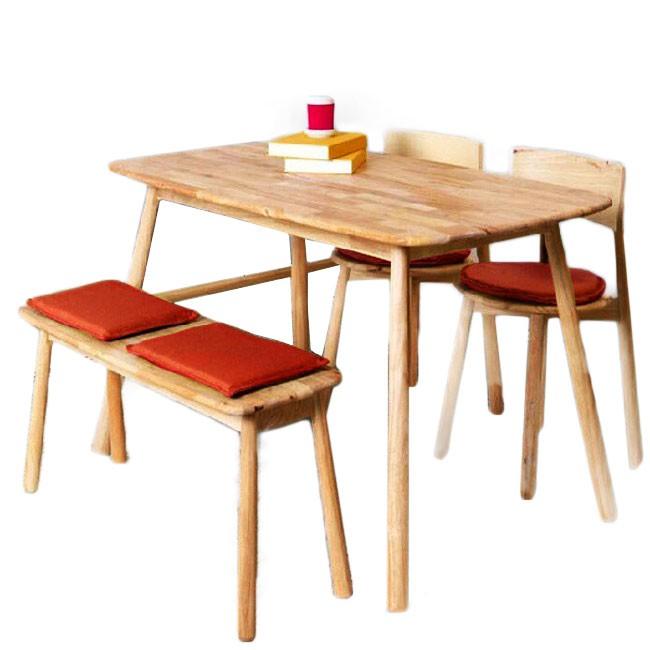 實木北歐簡約棒球餐椅-原木色+橘紅色坐墊