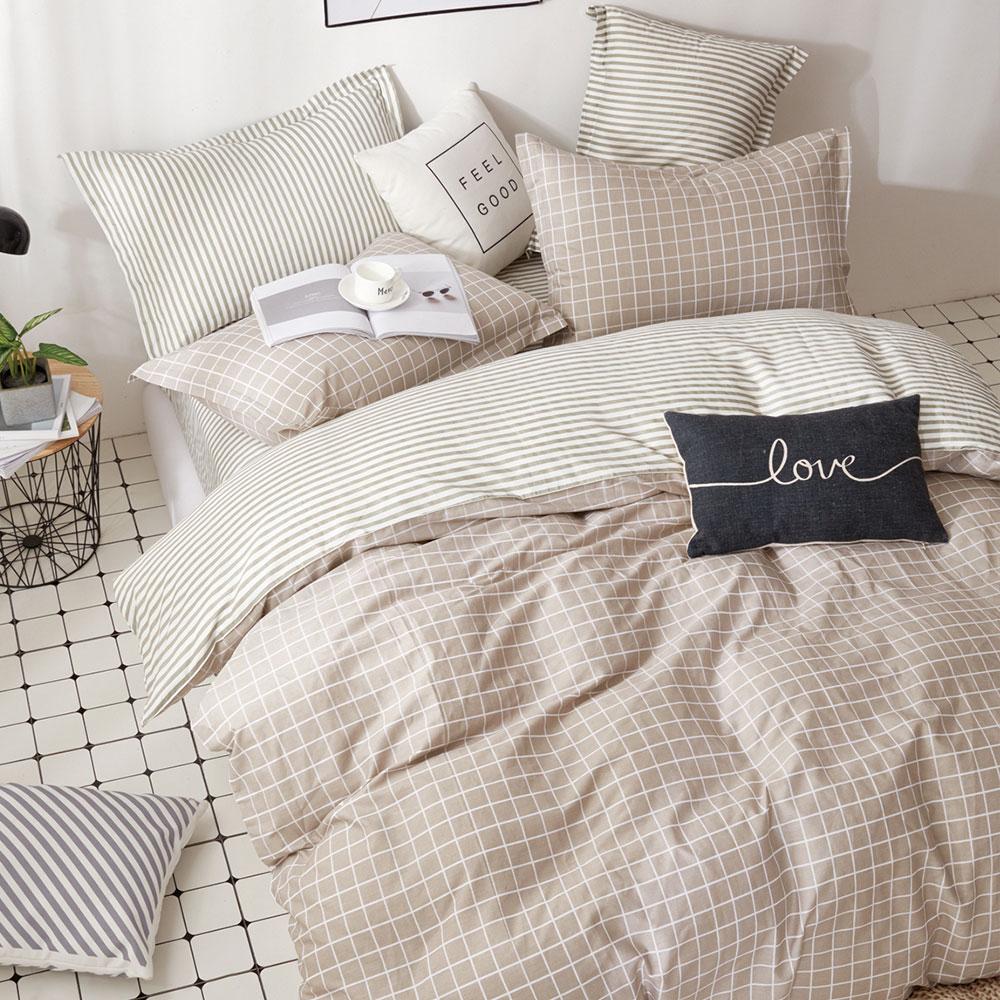 床包枕套組-單人 / 精梳純棉二件式 / 咖啡凍奶茶 台灣製