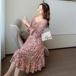 【Sanae】氣質雪紡V領碎花收袖浪漫連身洋裝