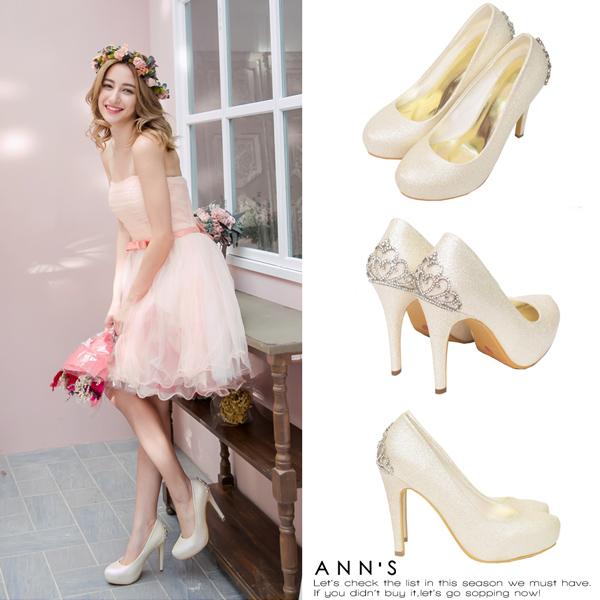 滿額加碼送鑽石鞋釦Ann'S公主的珠寶盒-水鑽皇冠防水台厚底高跟婚鞋10.5cm-金