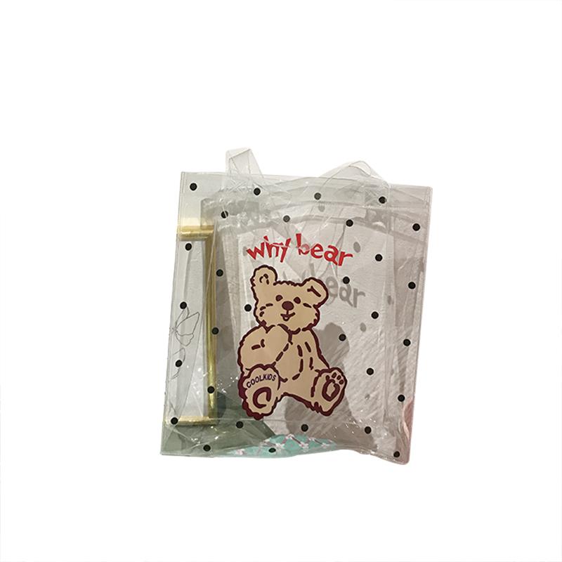 透明手提袋 17D010韓國ins可愛卡通波點小熊pvc沙灘度假風購物袋果凍包女