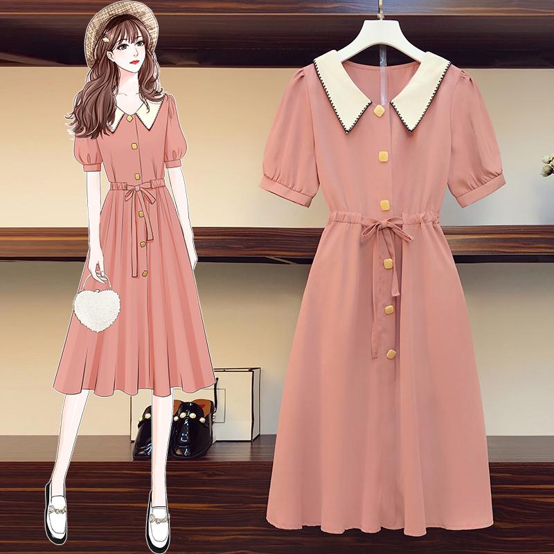 M-4XL大尺碼衣著 2021夏裝新款韓版大碼微胖mm顯瘦法式遮肉顯瘦連衣裙