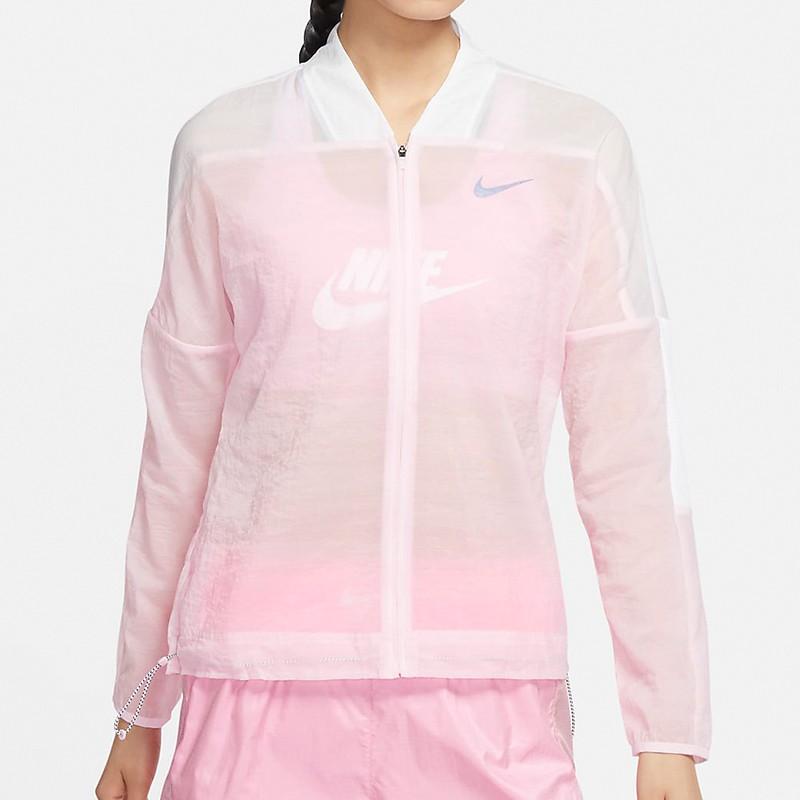 Nike AS W Icnclsh Jacket 女 白粉 慢跑 反光 運動 風衣 外套 CU3049-663