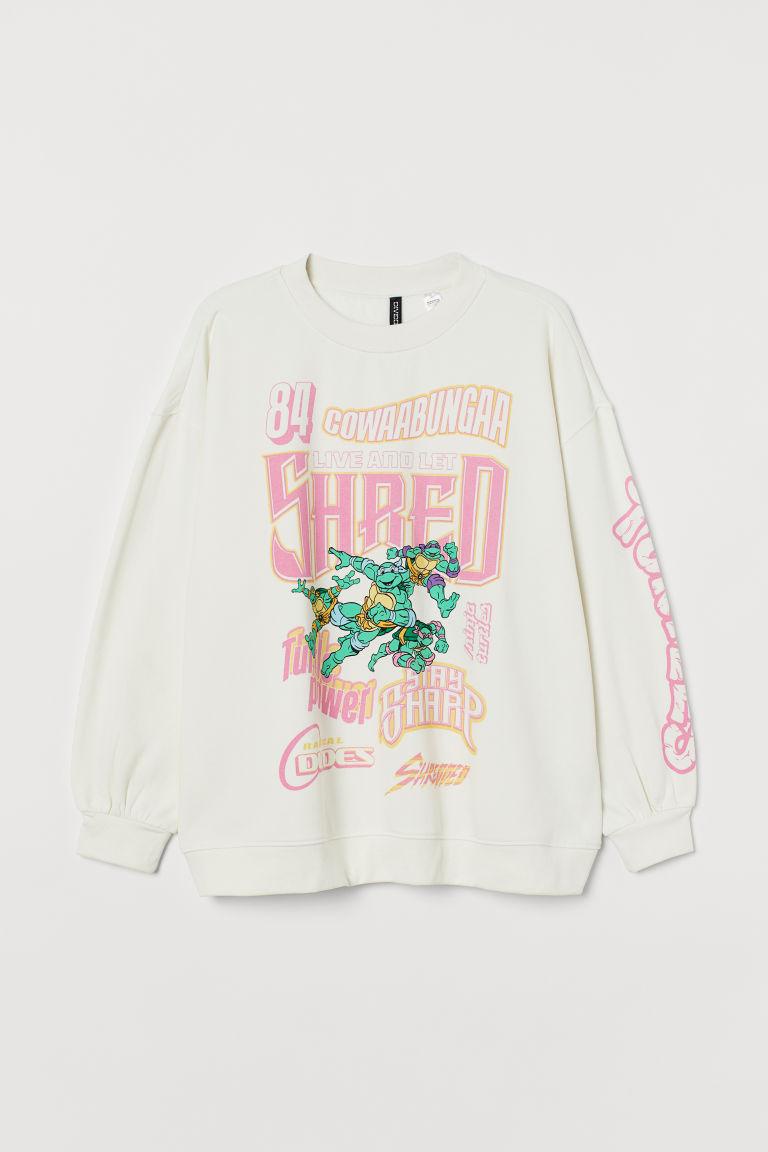 H & M - H & M+ 圖案運動衫 - 白色