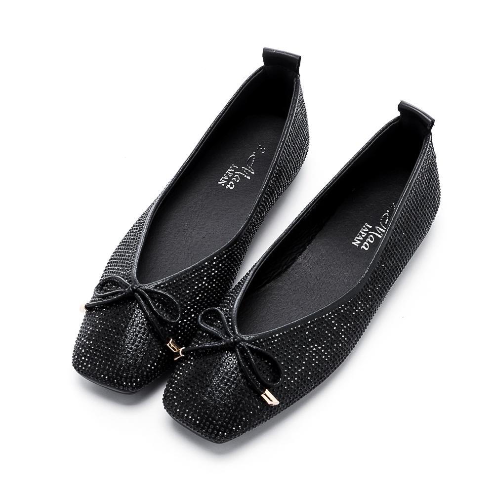 【零碼撈便宜】2.Maa 率性水鑽蝴蝶結平底方頭鞋 - 黑