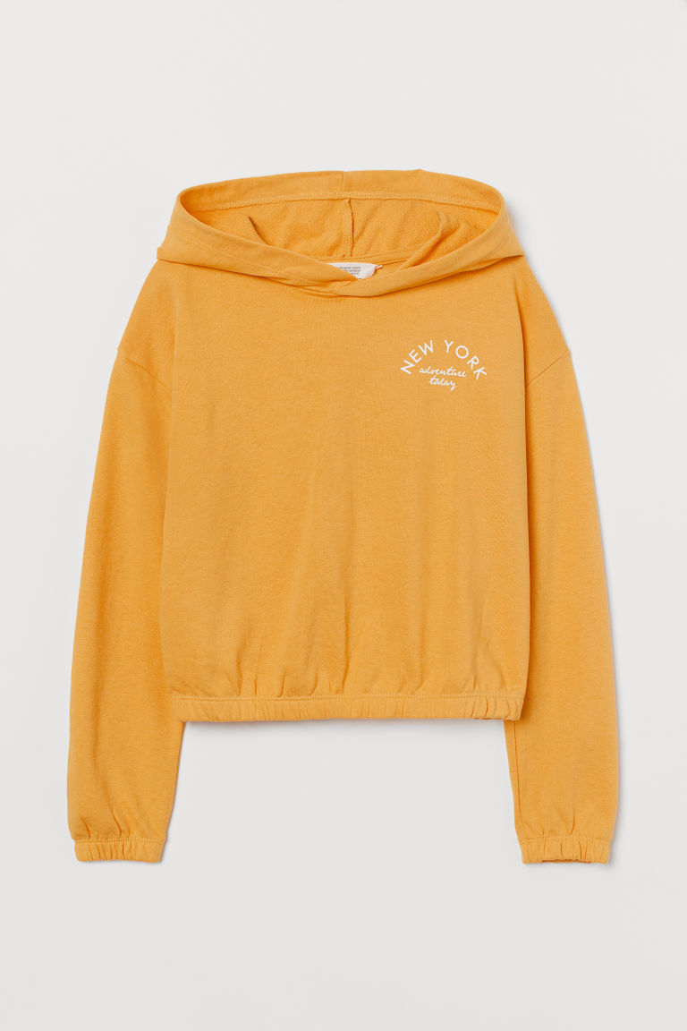 H & M - 方形剪裁連帽上衣 - 黃色