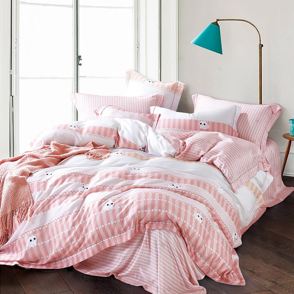 PureOne 100%天絲TENCEL 萌萌貓 鋪棉 兩用被套床包組 雙人/加大 萊賽爾 兩用被 床包被套 四件組