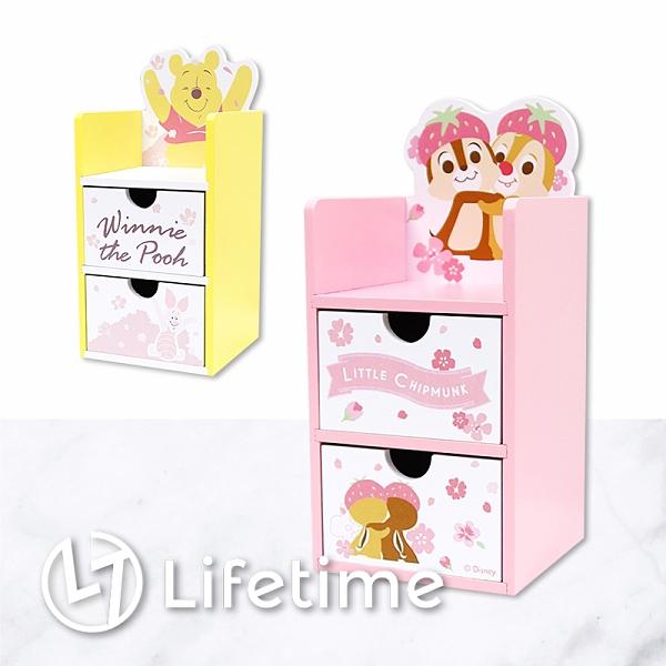 ﹝迪士尼櫻花造型二抽盒﹞正版 二抽盒 收納盒 置物盒 化妝盒 木櫃 維尼〖LifeTime一生流行館〗