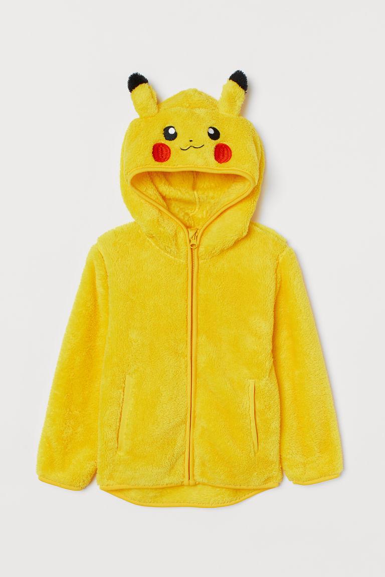 H & M - 貼花拉鍊連帽外套 - 黃色