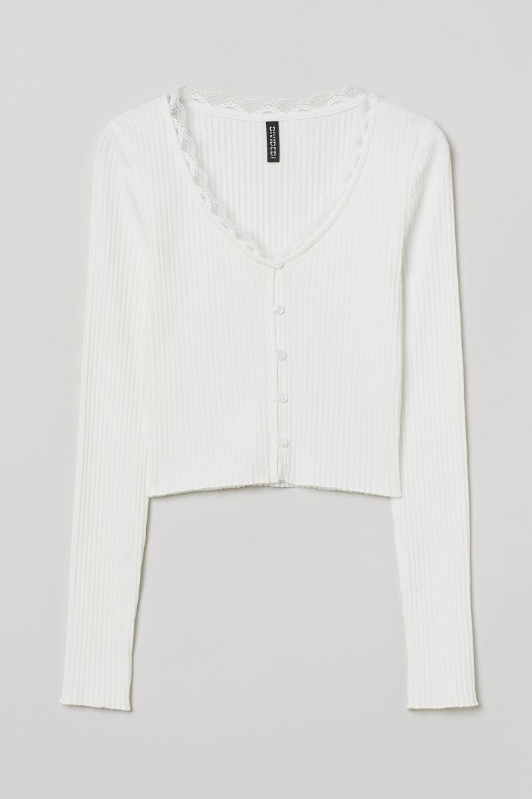 H & M - 羅紋上衣 - 白色