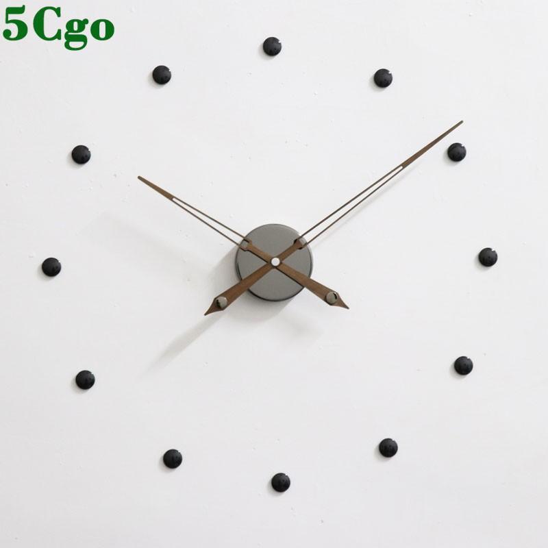 5Cgo免釘DIY現代掛鐘直徑50cm創意極簡歐美西班牙風格黑色客廳裝飾胡桃木大指針掛鐘錶t603724940807