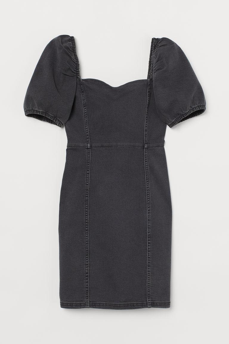 H & M - 公主袖丹寧洋裝 - 黑色