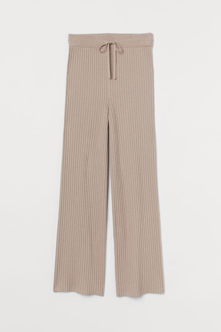 H & M - 喀什米爾羊毛混紡羅紋長褲 - 粉紅色