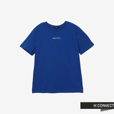 H:CONNECT 韓國品牌 男裝-圓領率性字樣T-Shirt-寶藍色