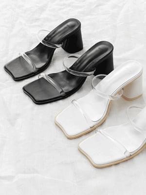 韓國空運 - Wave Outsole Double Clear Block Heel Sandals 5363 涼鞋