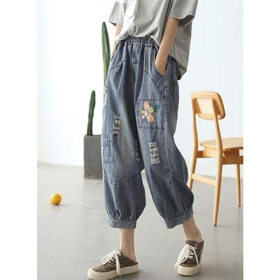 高腰鬆緊腰寬鬆氣質慵懶風顯瘦九分牛仔褲-設計所在