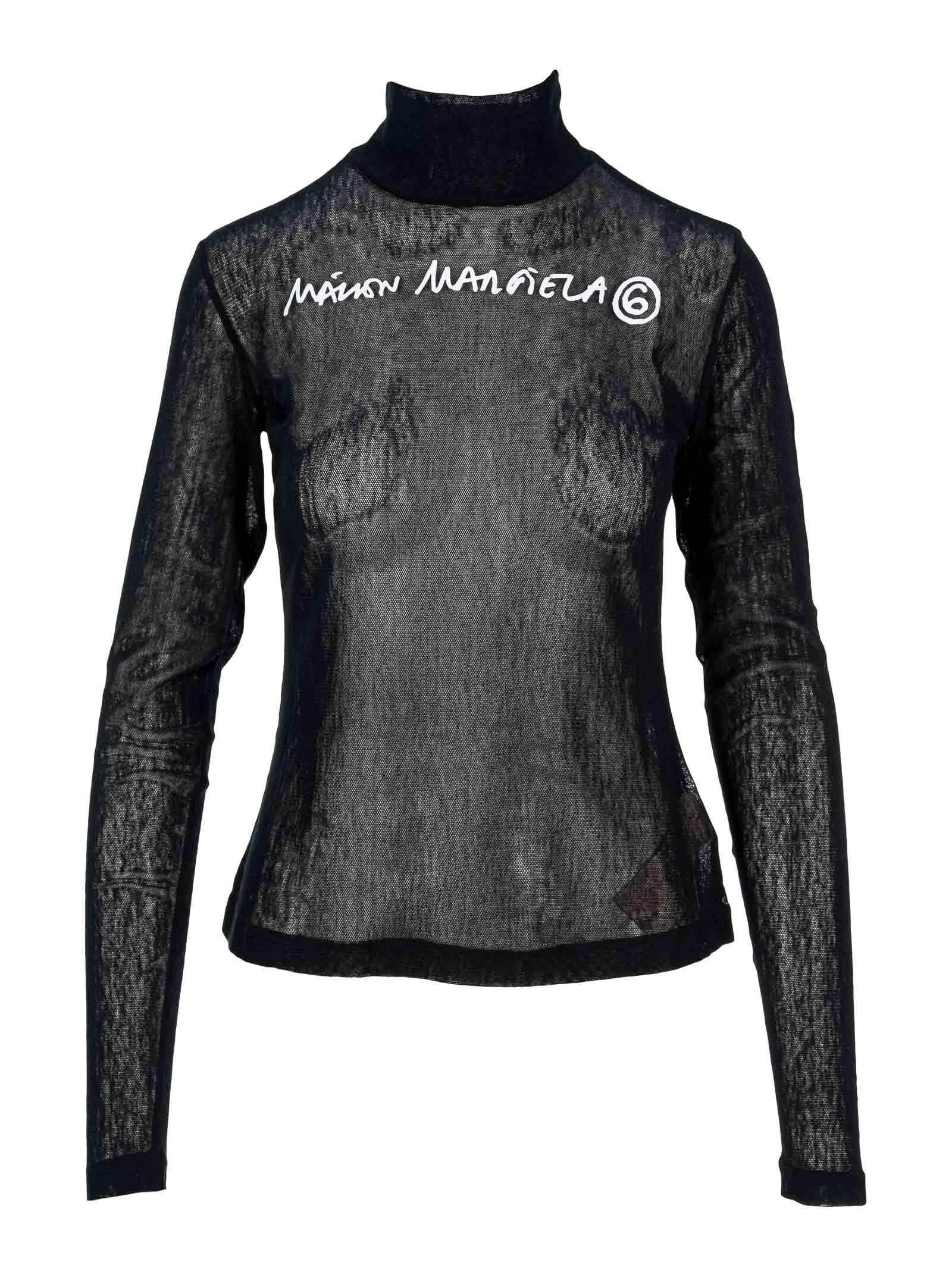 MM6 Maison Margiela Mm6 Printed Logo Mesh Jersey Top