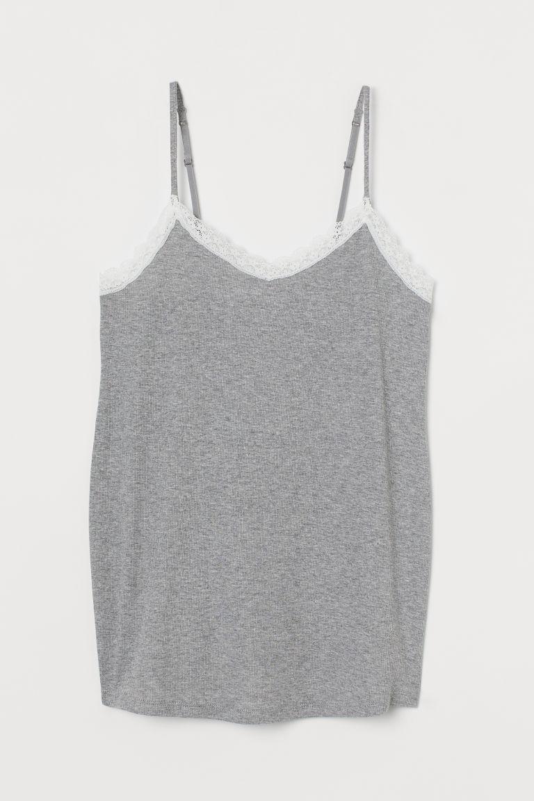 H & M - MAMA 羅紋棉質細肩帶上衣 - 灰色