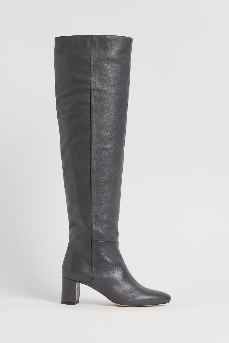 H & M - 真皮靴 - 褐色