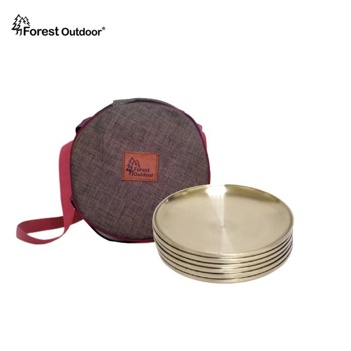 【Forest Outdoor 304隔熱不鏽鋼盤6件組】含收納包18-8 露營野餐【愛上露營】