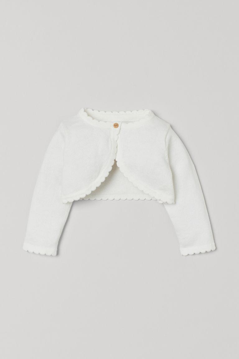 H & M - 小波浪邊小外套 - 白色