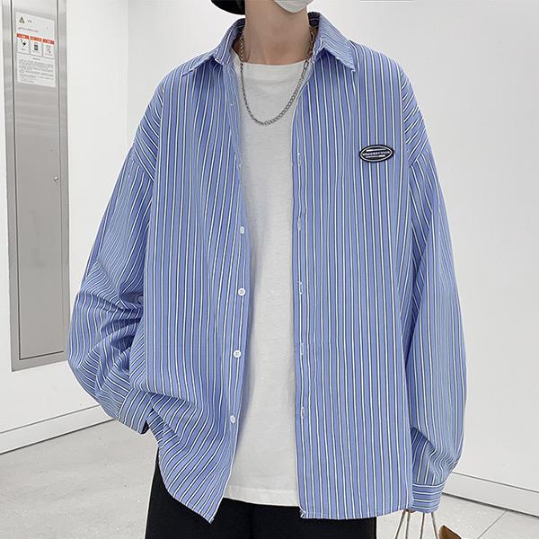 BOY2小二布屋【NLZYF-C36】男長袖襯衫 韓系條紋寬鬆上衣外套/現+預