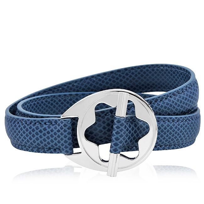MONT BLANC 萬寶龍 藍色六角星純銀雙環釦手環