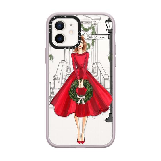 CASETiFY iPhone 12 Impact Case - Holly Lane (Holiday/Christmas Fashion Illustration Case, Redhead)
