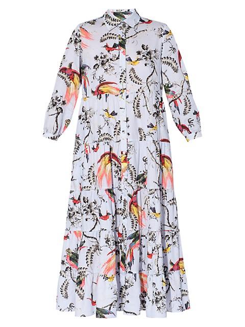 Vacation Patmos Parrot-Print Ruffle Shirtdress