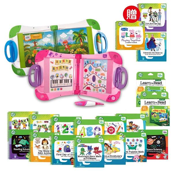 【行動大全套】美國 LeapFrog 跳跳蛙 LeapStart Sr. 全英幼童行動學習機-新版(白/粉)+34本學習書