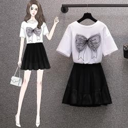 KVOLL-休閒甜美蝴蝶結白色T恤短裙二件套裝-L-4XL