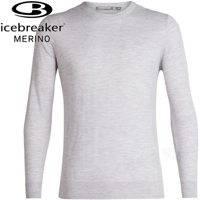 Icebreaker 羊毛衣/圓領長袖上衣/中層衣/美麗諾羊毛/旅遊JN Shearer 男款104326 004 灰白