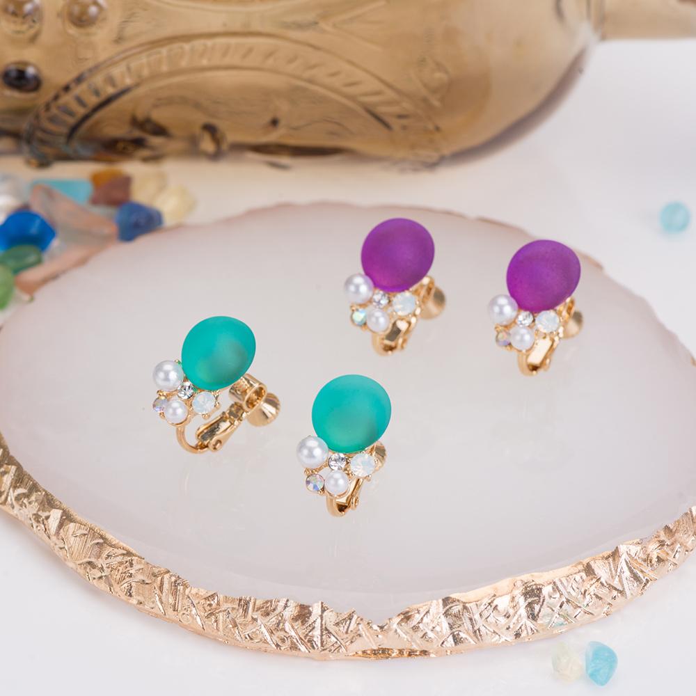 輕透果凍泡泡珍珠耳夾(2色)-B10050