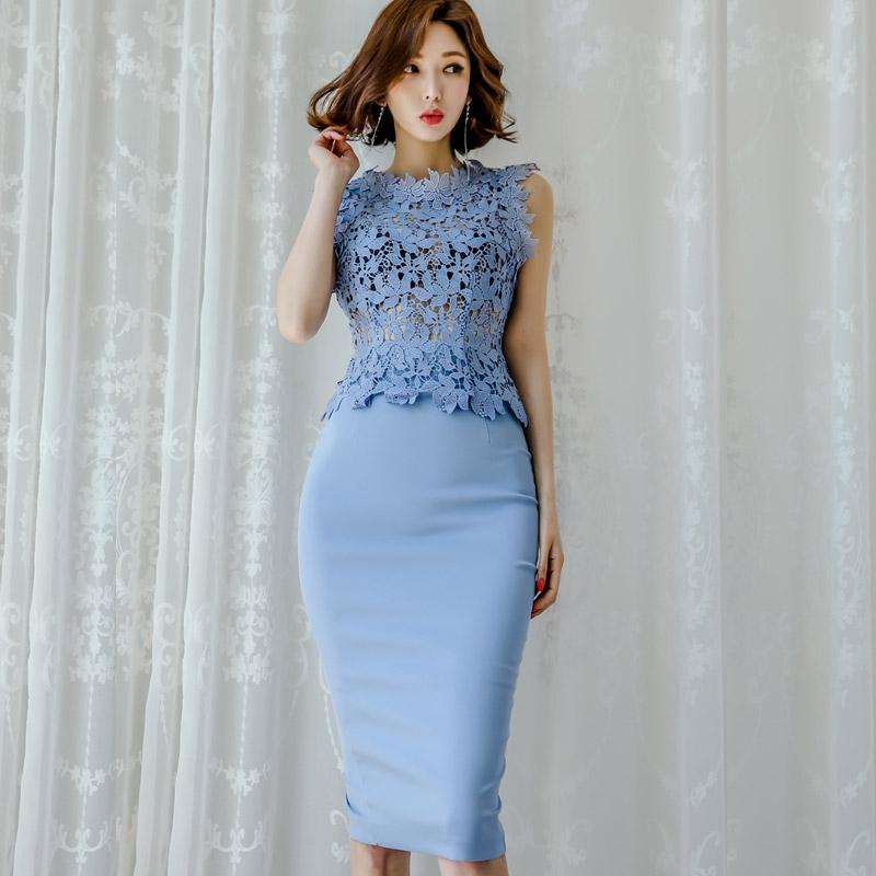 鏤空透視蕾絲洋裝套裝連身裙 無袖蕾絲上衣+高腰窄裙 一步裙 過膝包臀洋裝 宴會禮服 office lady女生酒會洋裝